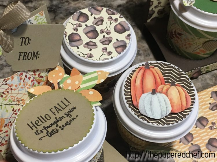 Mini Coffee Cups decorated with Painted Autumn DSP