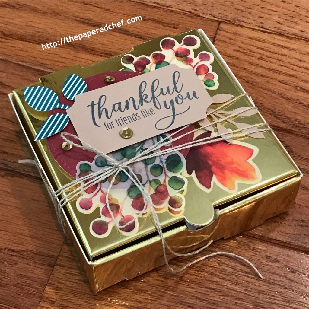Gift of Fall Paper Pumpkin Kit - Gold Mini Pizza Box