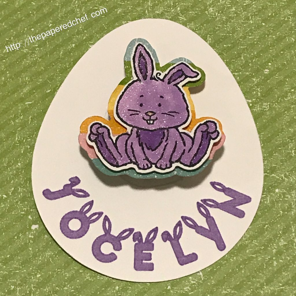 Egg created with the Welcome Easter stamp set and Happy Rabbit font.