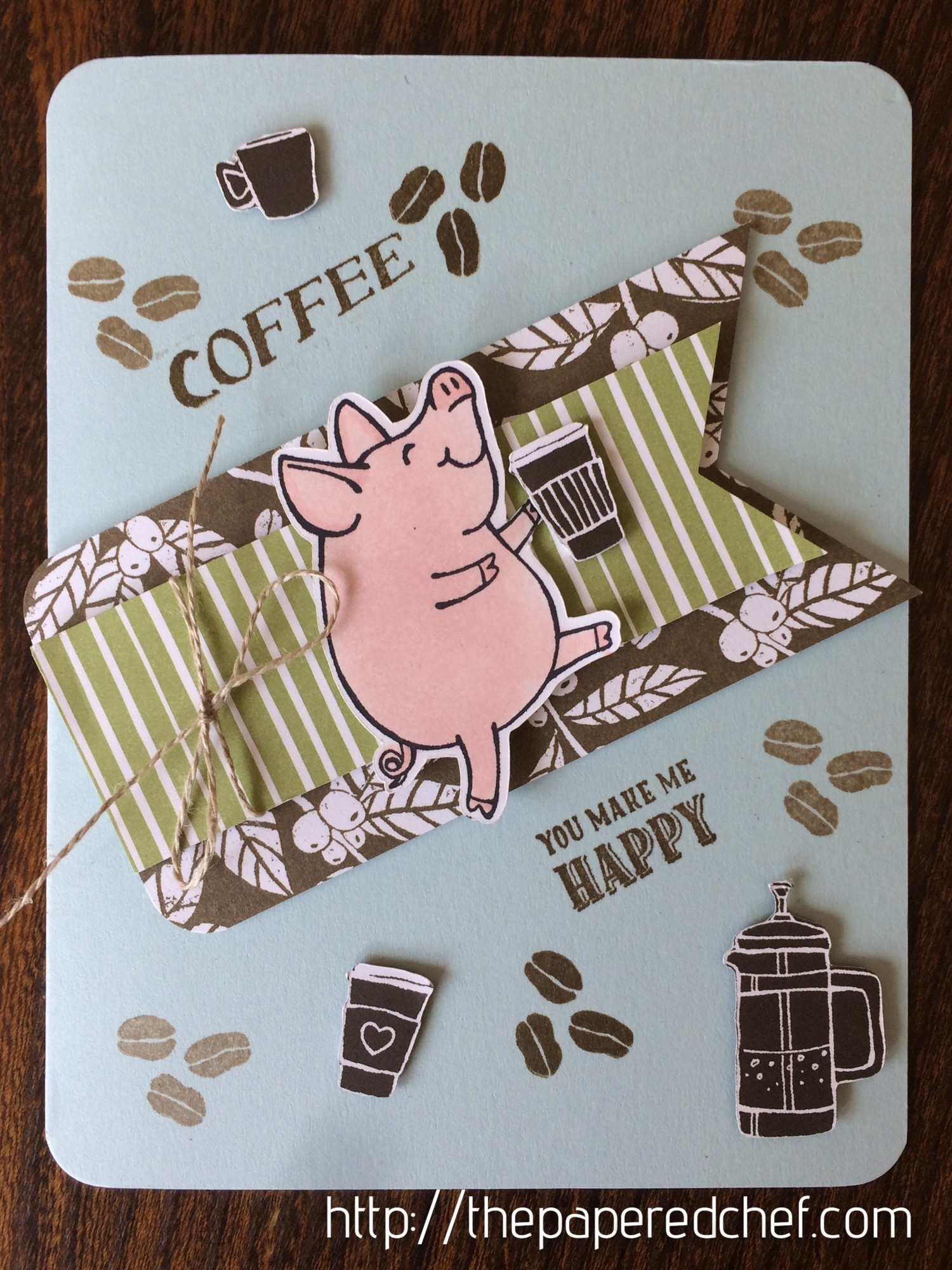 You Make Me Happy – Little Piggy Coffee Card