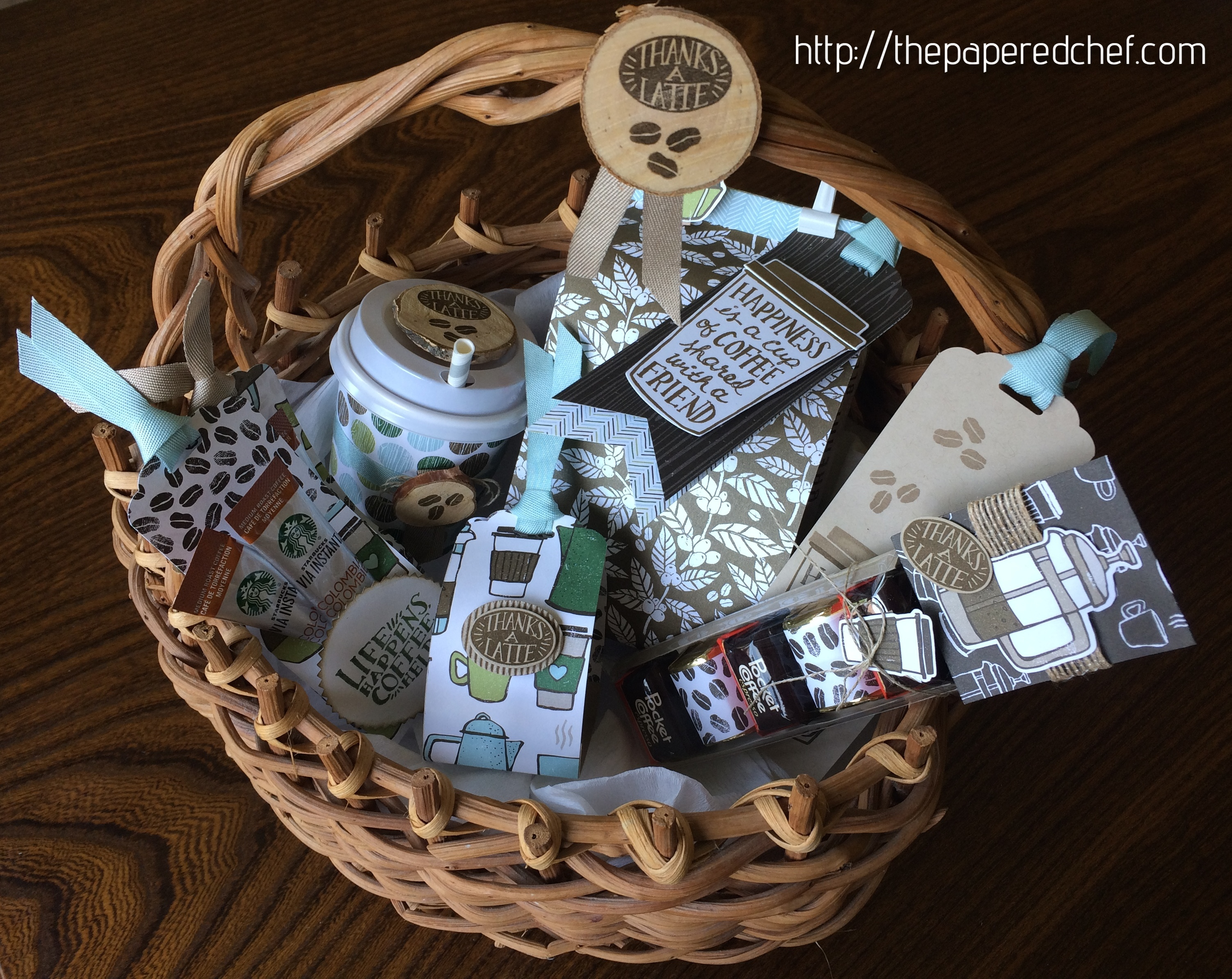Coffee Break Basket containing coffee, candy, tags, and a candle