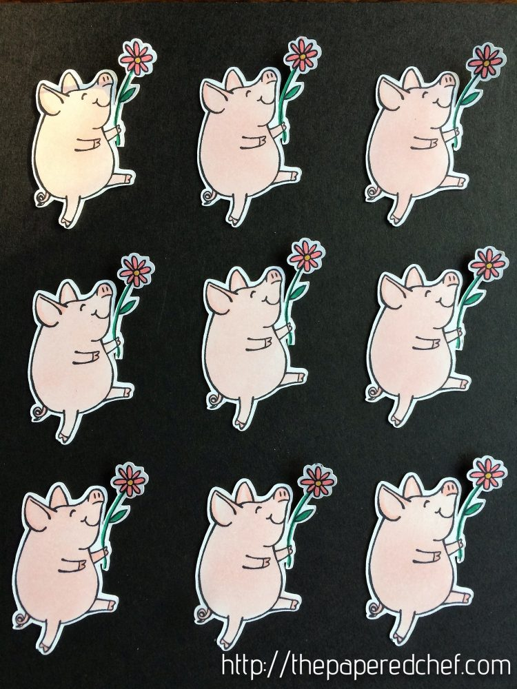 Example of Little Piggy images cut out with the Brother Scan N Cut