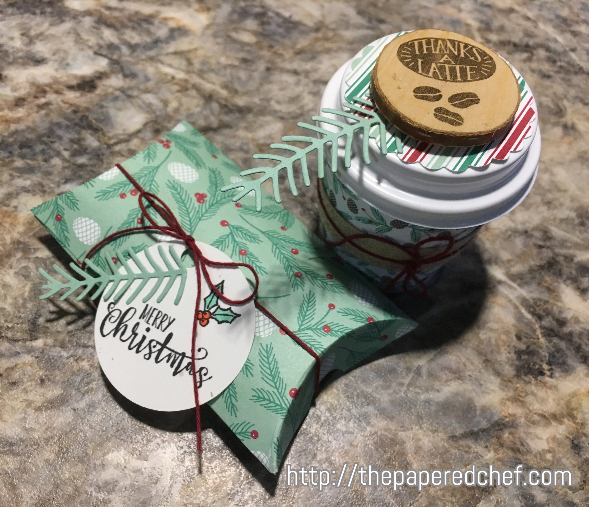 Half Full Stamp Set, Coffee Cafe Stamp Set, Presents & Pinecones dsp, Pretty Pines thinlets