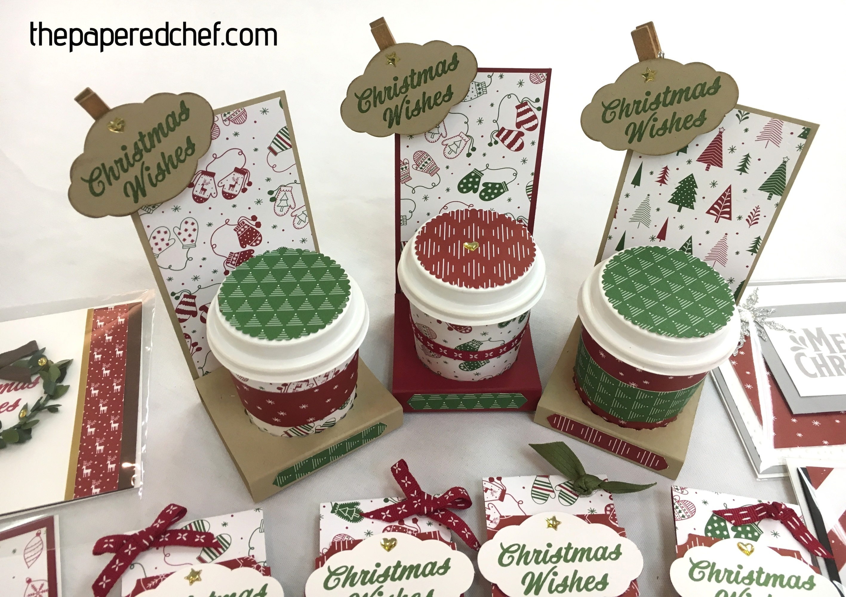 Mini Coffee Cups created with the Merry Mistletoe stamp set & Be Merry dsp