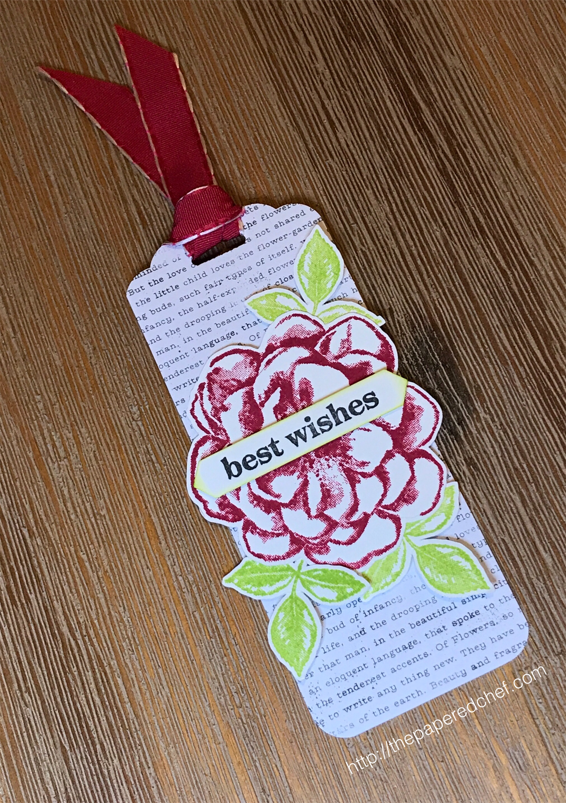 Sentimental Rose Best Wishes Bookmark