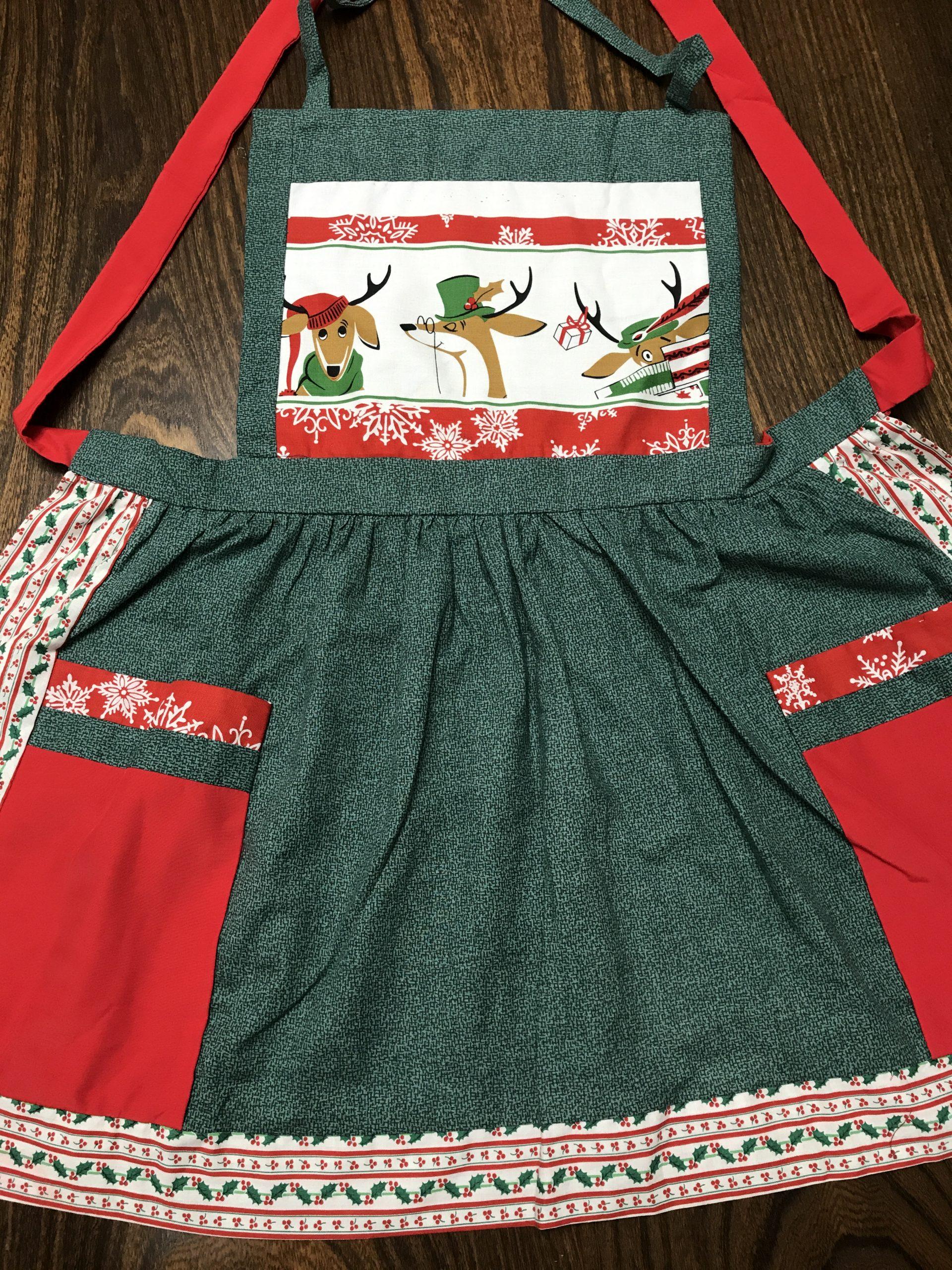 Reindeer Green Apron